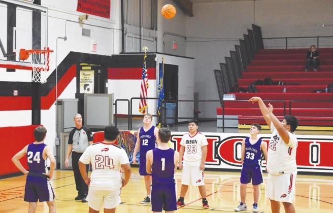 Izzy Yellowfish performs a free throw during a game against Hydro-Eakly. (Photo provided by Geary Yearbook Staff)