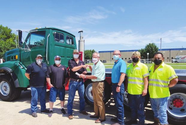 Left to Right: Rey Caster, Dolese; Gary Martin and Kelby Scott, Canton Fire Department; Kermit Frank, Brian Malatka, Jaykob Malatka and Felipe Flores, Dolese. Dolese Bros. Co. | Watonga Republican