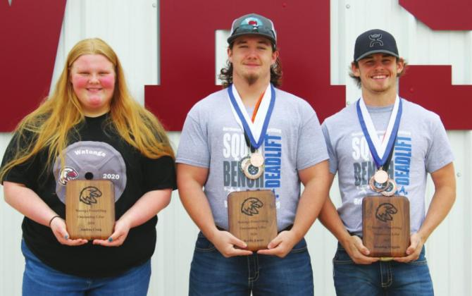 Powerlifters were presented April 14 with their plaques for the just completed lifting season, shortened by the closure of schools as a result of the Covid-19 virus. Photos by Connie Burcham | Watonga Republican